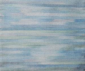 Makkai Márta textilművész Balaton 1. című ikat munkája.