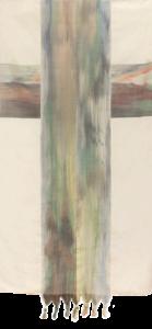Makkai Márta textilművész Kereszt című ikat munkája.