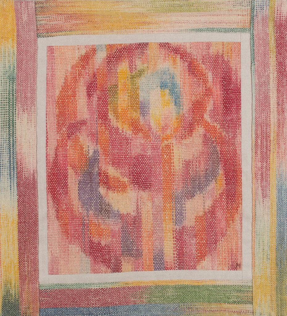Makkai Márta textilművész Pünkösdi rózsa című ikat munkája.