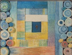 Makkai Márta textilművész Rózsák között című munkája.