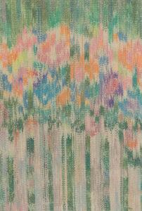 Makkai Márta textilművész Virágok a kerítés mögött című ikat munkája.