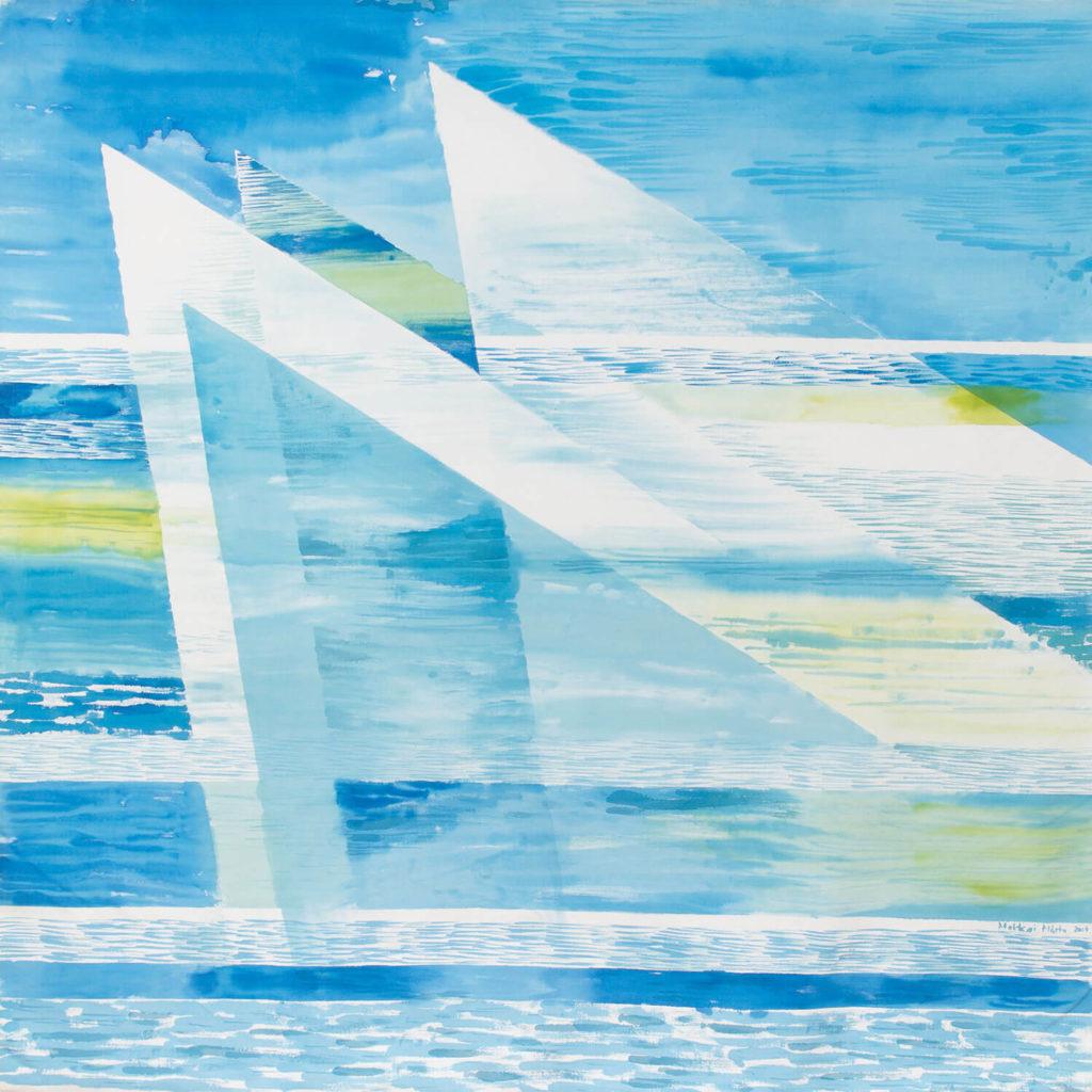 Makkai Márta textilművész Vitorlások 1. című munkája.
